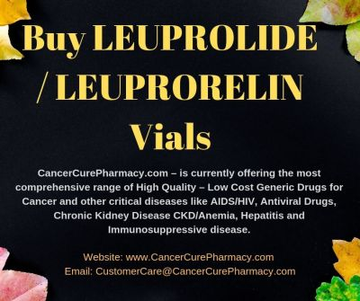 https://bit.ly/2ymtvUg : We CancerCurePharmacy.com can assist to all people who needs Generic leuprorelin Eligard 3.75 mg, 7.5 mg, 11.25 mg injection vial online. They can reach us at CustomerCare@CancerCurePharmacy.com
