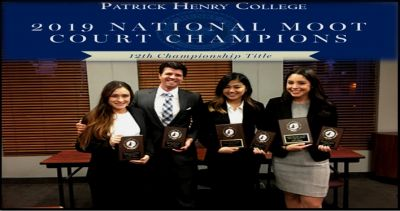 Patrick Henry College won its twelfth national championship at the American Moot Court Association (AMCA) national tournament in Orlando, Florida last weekend. In addition to winning first place, PHC finished with three teams among the top eight in the nation. PHC speakers also won four of the top 20 speaker awards.