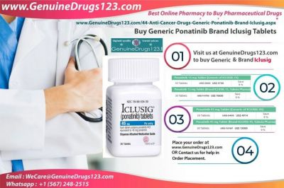 GenuineDrugs123.com offers Generic Ponatinib Brand Iclusig Tablets at an lowest Price online.  Anyone can buy this medication from this website. If you have any query please write us at WeCare@GenuineDrugs123.com  Buy Now : https://bit.ly/2C1Zf6j
