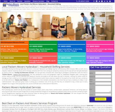 We Provide Best Packers And Movers Hyderabad List for Get Free Best Quotes,Compare Charges, Save Money And Time, Household Shifting Services @ PackersMoversHyderabadCity.in